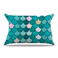 "Famenxt ""Mermaid Fish Scales"" Teal Nautical Illustration Pillow Sham"