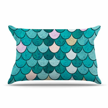 "Famenxt ""Mermaid Fish Scales"" Teal Nautical Illustration Pillow Case"