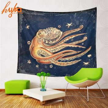 Hyha 130x150cm Vintage Octopus Tapestry Oil Painting Lion Polyester Animal Wall Decoration Jellyfish Fox Cat Wall Hanging