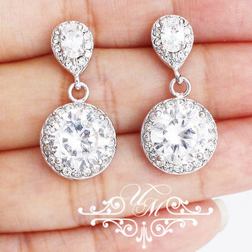 Wedding Jewelry A A A Cubic ZIRCONIA Earrings Studs Earrings Bridal Earrings Bridesmaids Earrings Round earrings earrings - CARI MACEY