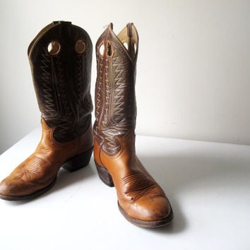 Vintage Tony Lama Cowboy Boots Two Tone 8.5 D Cowgirl Retro Leather Western Boots Stacked Heel