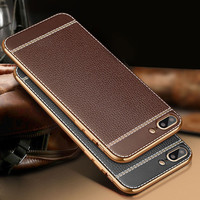 Plating TPU Leather Back Case For iPhone 7 7Plus Ultra thin Shockproof Phone Cover Full Protective Capa Fundas For Men Women