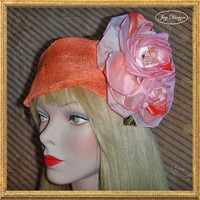 2014 Resort Head Wrap Collection Orange Italian Sinamay Linen Head Wrap Orange and Coral Silk Roses Hand Beaded with Orange Opaque Beading