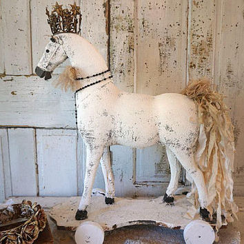 White crowned horse on wheels lg reclaimed statue French Nordic hand painted w/ crown tattered muslin tail home decor anita spero design