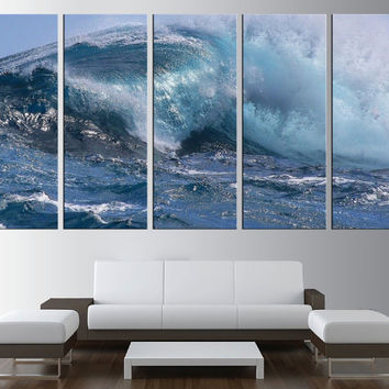 Ocean wave wall art canvas print, sea wall art, waves canvas, extra large wall art, lanscape canvas print, seaside canvas printing t194