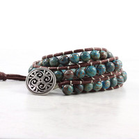 Beaded Wrap Bracelet Blue Sky Jasper Boho Earthy Brown Blue Winter Fashion Bohemian Style Triple Wrap