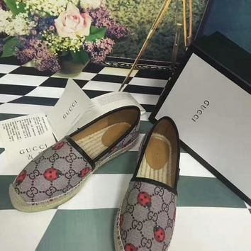 Gucci women loafers straw fisherman flat heel shoes