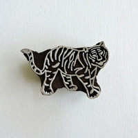 Tiger Stamp: Indian Printing Block, Zoo Animal Clay Textile Pottery Stamp, Carved Wood Block Stamp, Wooden Mehndi Henna Tattoo Stamp, India