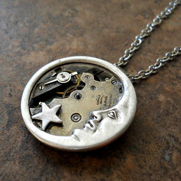 Steampunk Man in the Moon PendantVintage Watch by EnchantedLockets