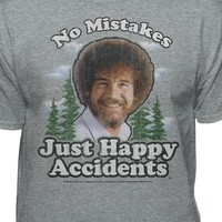 Bob Ross Graphic T-Shirt for Men and Women - No Mistakes, Just Happy Accidents - Short Sleeve