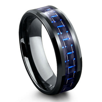 Black Tungsten Carbide Ring With Blue & Black Carbon Fiber Inlay