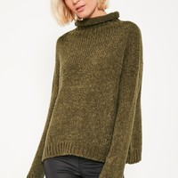Missguided - Khaki Cosy Funnel Neck Boucle Jumper