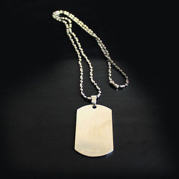 HOT Classic Modern Men Stainless Steel Dude Army Dog Tag Necklace Cool Chains