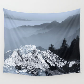 FOGGY BLUE MOUNTAINS Wall Tapestry by piaschneider