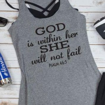 God Is Within Her. She Will Not Fail PSALM 46:5 Tank Top