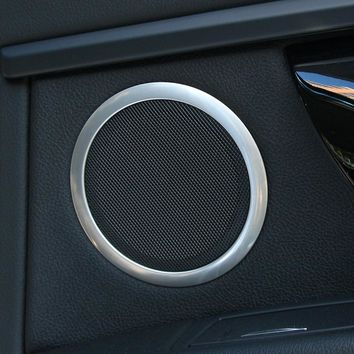 Car Accessories, Interior Door Stereo Speaker Ring Chrome Trim Cover For BMW 3 Series F30 F34 320i 316 Sedan 2012 2013 2014 2015