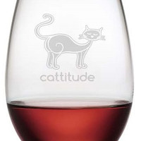 Cattitude Stemless Wine Glasses