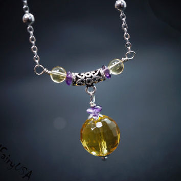 Faceted Citrine Necklace Silver , Bridesmaid Necklace , Citrine Jewelry ,  Bridesmaid Jewelry ,  November Birthstone