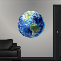 HD Earth Wall Graphic World Blue Marble Sticker Continental North South Americas Decal Educational Kids Room Man Cave Garage Den Art Decor