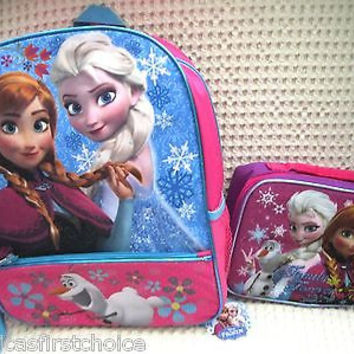 "Frozen Anna, Elsa, and Flying Olaf 16"" Backpack + Family Forever Lunchbox-New! I"