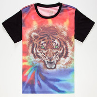 Blue Crown Tie Dye Tiger Boys T-Shirt Black  In Sizes