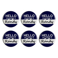 Randy Hello My Name Is Plastic Resin Button Set of 6
