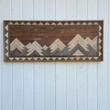 Reclaimed Wood Wall Art - Twin Headboard - Full Mountain Range - Wall Decor - Rustic Art - Mosaic Art - Lath Art