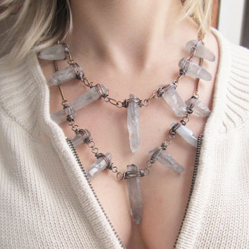 Raw Quartz Bib Necklace Wire Wrap Jewelry Statement Necklace Wire Wrap Quartz Crystal Point DanielleRoseBean Rustic Bib