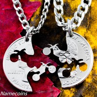 Dirt Bike Couples Necklaces, Motocross Guys Jewelry by NameCoins