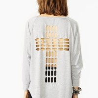 Cross Cutout Sweatshirt - Gray