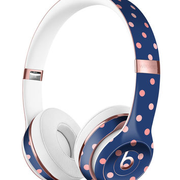 Multicolor Coral Dots Over Navy Blue Pattern 2 Full-Body Skin Kit for the Beats by Dre Solo 3 Wireless Headphones