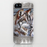 Gray Wolf Watches and Waits iPhone & iPod Case by JMcCombie