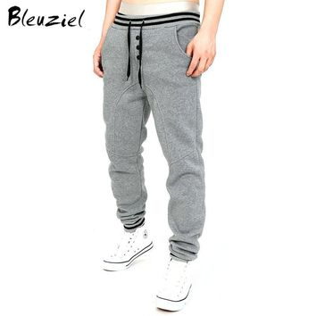 Bleuziel New Winter Add Velvet Wearm Men Trousers Thicker Men Sweatpants Fasion Cotton Pants Casual Solid Color Fitness Trousers