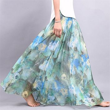 Green Summer Floral Long Chiffon Skirt