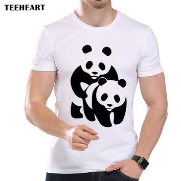 Men's Fashion Funny Panda Design T shirt Cool Tops Short Sleeve Hipster Animal Tees