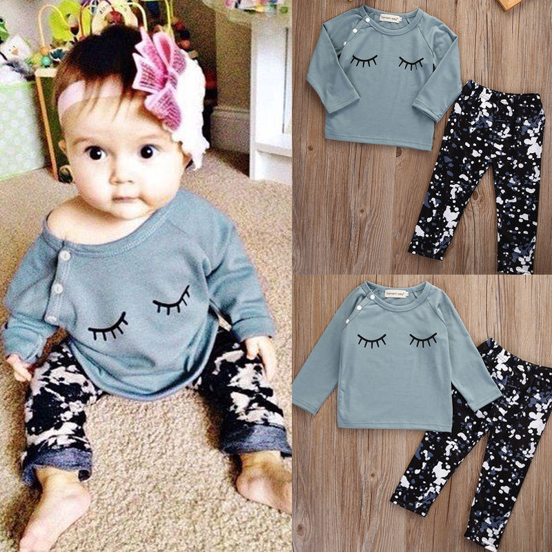Toddler Kid Baby Girls Clothes Set Autumn Outfits Clothes T-shirt Tops Long  Sleeve + P 055997a28