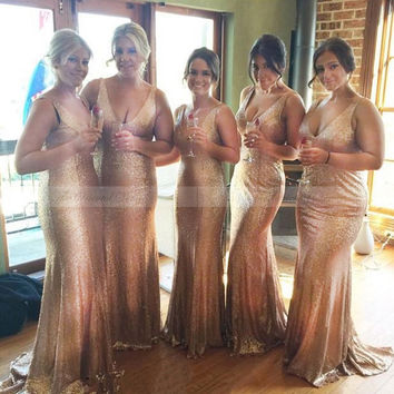Bling Rose Gold Sequined Bridesmaid Dresses Mermaid Plunging Deep V Neck Wedding Party Dress Long Women Formal Party Prom Gowns