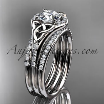 platinum diamond celtic trinity knot wedding ring, engagement ring with a double matching band CT7126S