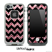Black Chevron Light Red Glimmer Skin for the iPhone 5 or 4/4s LifeProof Case