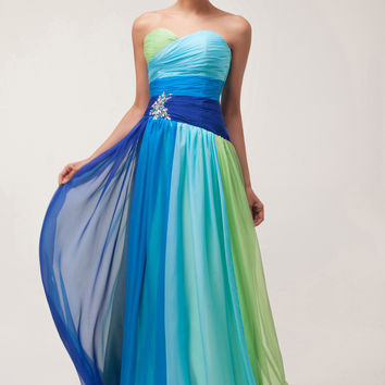 Color Block Strapless Acrylic Embellished Beads  Flounce Chiffon Maxi Dress