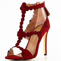 New Elegant Women Sandals Sexy Open Toe Thin High Heels Sandals Stylish Red Colors Shoes Woman