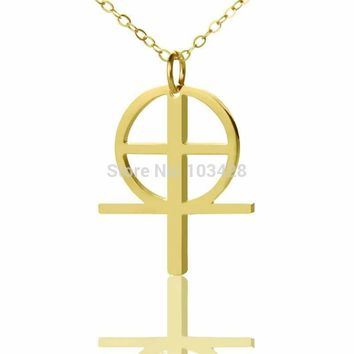 Simple Cross Necklace Gold Color Religion Pendant Coptic