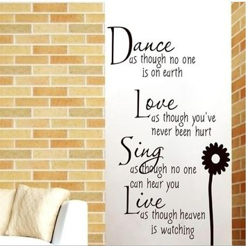 Dance Love Sing Live Wall Sticker for  Home Decoration