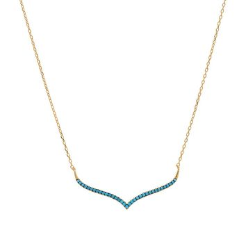 Turquoise Curved Bar Necklace