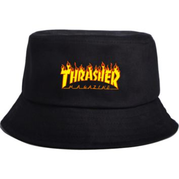Spring Summer Hot Thrasher Flame Print Sport Cap Bucket Hat