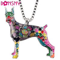 Bonsny Maxi Statement Metal Alloy Doberman Dog Choker Necklace Chain Collar Pendant Fashion New Enamel Jewelry For Women