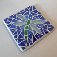 Dragonfly Mosaic Coaster, Mug Stand, Candle Holder, Stained Glass Mosiac
