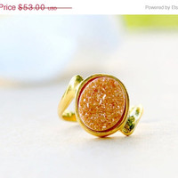 Mothers Day Sale Orange Druzy Ring,Quartz Ring,Gold Ring,Agate Ring,Gemstone Ring,Geode Ring,statement ring,Mom Ring,Mother Ring,Gifts idea