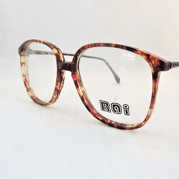 Big Preppy Glasses, Amber Brown Tortoise Shell Eyeglasses, Vintage 1980s Glasses, Womens Eyewear, Brown Glasses, New Old Stock Frames
