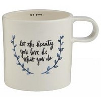 "Rae Dunn Indigo Mug - ""Let the Beauty You Love"" Quote"